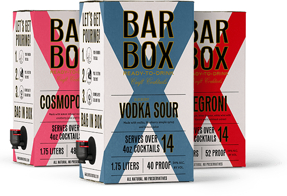 BarBox Negroni, Vodka Sour, and Cosmopolitan